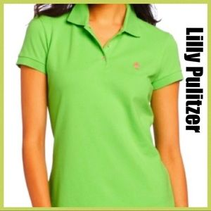 Lilly Pulitzer Polo Shirt Top Green Shrunk…